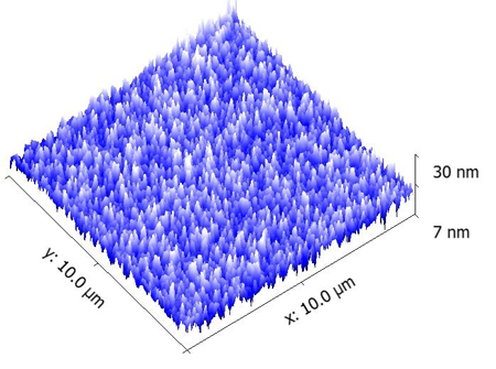 10 µm x 10 µm AFM scan showing surface roughness of patterned wafer